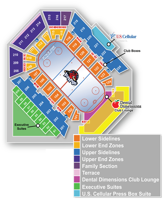 Official Website Of The Rockford IceHogs Seating Chart - Us cellular center seat map