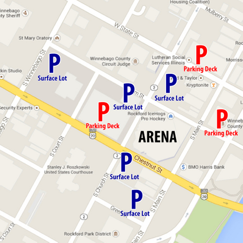 Official Website Of The Rockford IceHogs Parking - Parking map us bank stadium